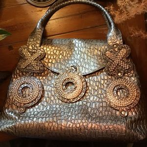 HP 7/12✨Swarovski Rhinestones💎reptile Leather Bag